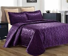 3 Piece Silky Satin Purple Quilted Bedspread Coverlet Set Queen Size