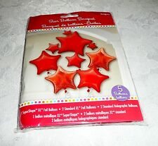 Anagram RED STARS Foil Balloon Bouquet 5 Balloons