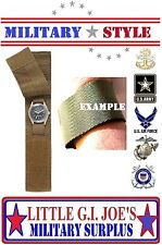 Coyote Hook & Loop Covered Watch Band Military Nylon Commando Watch Band 4101