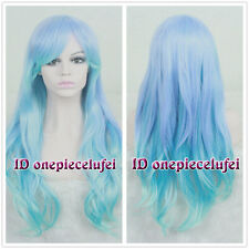 Long Charm Blue Mix Purple Wavy Curly Lolita Hair Wigs Cosplay Costume Wig CC46