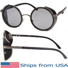 Vintage Retro Mirror Round Sun Glasses Goggles Steampunk Punk Sunglasses Black