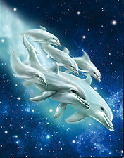 Dolphin Family Lenticular 3D Picture Animal Poster Painting Home Wall Art Decor