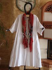 8142 LABASS 2016 Lagenlook Popeline Kurzarm Kleid weiß weiss Gr. L XL 44 46 48