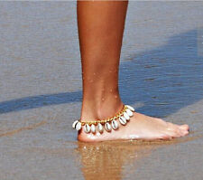 Gold Bracelet Shell Beach Tassel Foot Anklet Cowrie Sea Shells Nautical Anklet