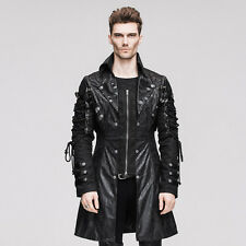 Mens Poison Black Jacket Faux Leather Gothic Steampunk Military Coat Punk Rave