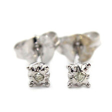 NICE GENUINE DIAMOND 0.02ct H/SI2 9K SOLID WHITE GOLD STUDS EARRINGS