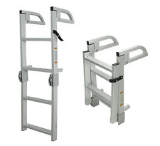 New 4-Step Folding Alum Boat Boarding Ladder w/ Handles for Pontoon, Runabout
