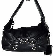 Betsey Johnson Black Faux Leather Hobo Bag w/ Large Side Buckles & O Ring Design