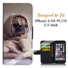 Apple iPhone 6 6S PLUS 5.5inch Wallet Flip Case Cover Pug Funny Y00650