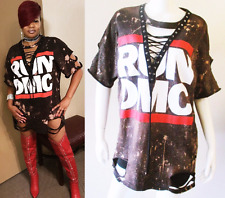 RUN DMC bleached distressed lace up shirt dress S-XL hiphop