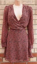 PRIMARK PINK BLACK SPOTTY VINTAGE LONG SLEEVE V NECK SKATER WINTER DRESS 12 M