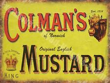 Vintage Food, 94, Colman's English Mustard, Butcher Shop, Small Metal/Tin Sign
