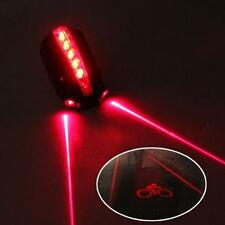 2 Laser+5 LED Rear Bike Fahrrad Tail Light Beam Safety Warning Rot Lamp
