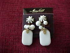 Miriam Haskell white glass beaded earrings on ORIGINAL DISPLAY CARD