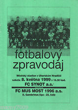 PROGRAMME UFFICIALE=FC SYNOT-DC MUS MOSY 1996=II GAMBRINUS LIGA=8/5/1999