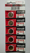 5 NEW CR1616 MAXELL 3V BATTERY - Free Shipping Worldwide - Expiration Year: 2026