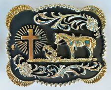 CROSS PRAYING FAITH ANIMAL RODEO BIG COWBOY WESTERN GOLD BLACK BELT BUCKLE