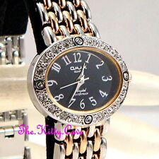 Omax Ladies Waterproof Rose Gold Silver Rhodium Pl Crystal Bracelet Watch JH0276