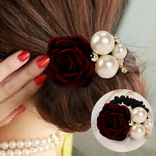 New Red Women Satin Ribbon Rose Flower Pearls Hairband Ponytail Holder Hair Band