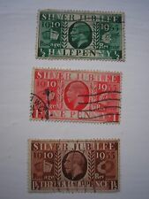 George V Silver Jubilee stamps, set of three.