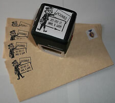 Custom self inking Mr Zip mailman/postal carrier rubber stamp by Amazing Arts