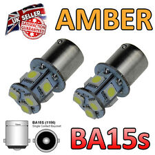2 x BA15s 8 SMD Amber LED Indicator Repeater Light Bulbs 382 207 245