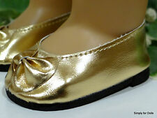 """**SALE** GOLD Metallic Ballet Flats DOLL SHOES fits 18"""" AMERICAN GIRL DOLL"""