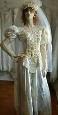 Vintage Traditional Bridal Gown Wedding Dress Veil Train Costume Size Small