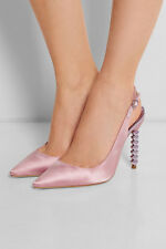 99p START: Sophia Webster Tyra Pink Satin Heart Heels Pumps IT36.5/UK3.5