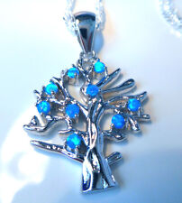 "STUNNING BLUE FIRE OPAL TREE OF LIFE PENDANT + 18"" SILVER CHAIN."
