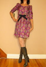 See by Chloe $694 Logo Print Silk Bright Pink Purple Mini Dress IT 42 US Small