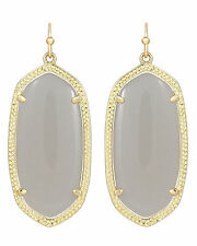 Kendra Scott Elle Dangle Earrings in Slate Glass Cats Eye & Gold Plated