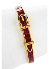 AUTH HERMES Red Alligator Gold Tone Buckle Design Bangle Bracelet MHL GAR1145