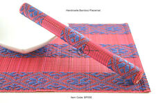 4 Handmade Bamboo Wood Placemats Tablemats, Brocade Design, Blue-Red BP006