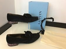 LANVIN Black velvet Bow Shoes Heels New RRP £500 Boxed Size 39 Uk 6 Slipper