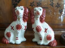 """TWO VINTAGE PORCELAIN RUSSET RED WHITE KING CHARLES SPANIEL DOG STATUES 10""""H"""