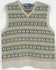 Ralph Lauren vest SZ XL 100% wool beige green brown fall winter handknit EUC