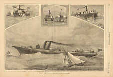 Steamship, Meteor, Towboat, Recent Marine Inventions, by J.O. Davidson, 1886