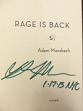 "RAGE IS BACK by Adam Mansbach ""SIGNED DATED & NYC"" 2013 HBDJ 1ST/1ST BRAND NEW"