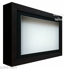 New Large Deep Shadow Box Display Frame for Baby Casts, Medals, Black / White
