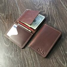 Personalized Engraved Custom Money clip Genuine Leather wallet for men,him-Brown