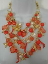 New Amrita Singh Gold & Peach Coral Crystal Starfish Pearl Shell Beaded Necklace