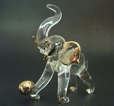 Glass ELEPHANT, Glass Animal, Clear & Gold Painted Glass Ornament, Glass Figure