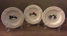 Three Vintage Car French Saxon China Union Made USA 22kt Gold Ashtrays HTF