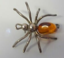 Vintage Sterling Silver Real Honey Butterscotch Amber Spider Bug Pin Brooch