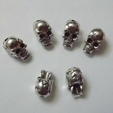 30pcs Antique Silver Charms Skull Beads 10*5mm Fit Bracelet