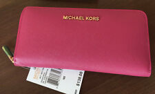 NEW Michael Kors Travel Zip Around Continental Saffiano fuschia Wallet $138