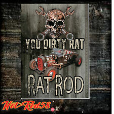 Dirty Rat Hot Rod 58 Vintage car Garage Rustic Tin Metal Sign Cave Wall Decor 56