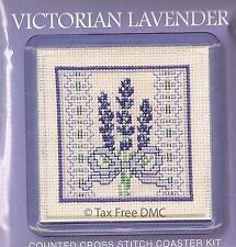 VAT Free Textile Heritage Counted Cross Stitch Kit Coaster Victorian Lavender