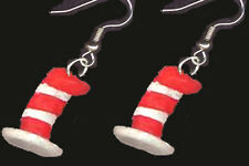 Funky Striped CAT-in-the-HAT EARRINGS Dr Seuss Novelty Charm Costume Jewelry
